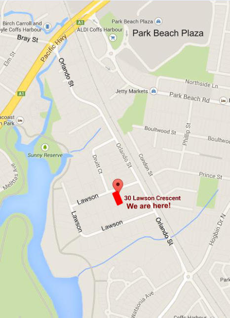 Map - AV Corporate are at 30 Lawson Crescent Coffs Harbour